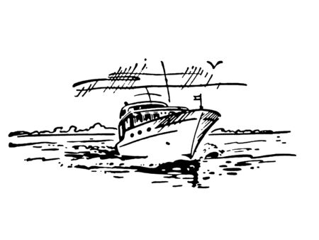 A black and white version of a vintage illustration of a boat Stock Illustration - 14917409