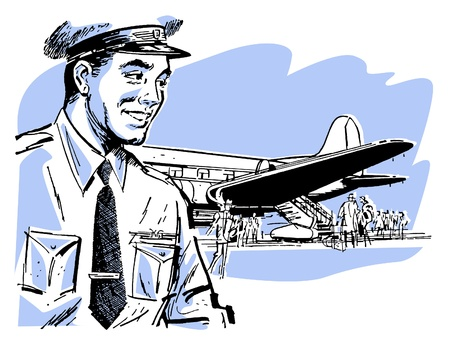 A vintage illustration of a pilot and airplane illustration