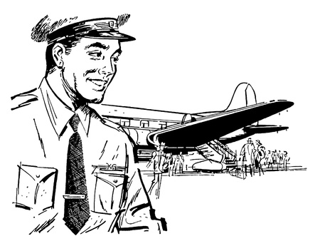 A black and white version of a vintage illustration of a pilot and airplane