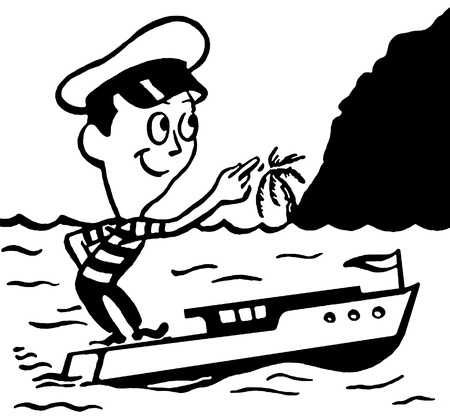 A black and white version of a cartoon style vintage illustration of a small man in a boat illustration