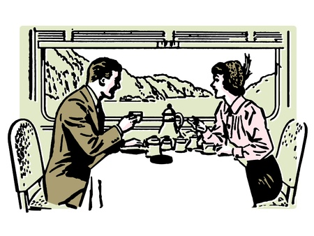 honeymooner: A vintage illustration of a couple dining in a train restaurant Stock Photo