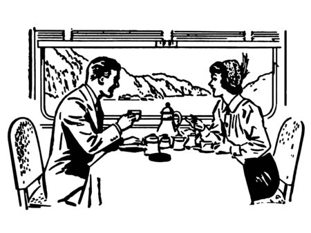A black and white version of a vintage illustration of a couple dining in a train restaurant illustration
