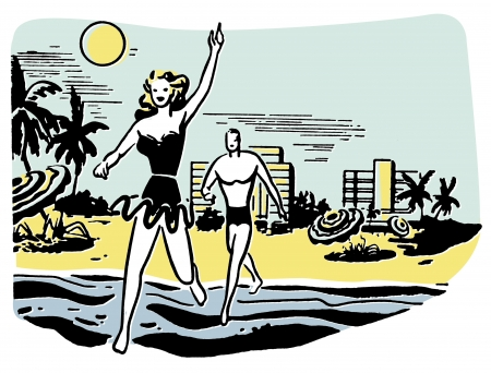 couple having fun: An illustration of a couple having fun in the sun on vacation