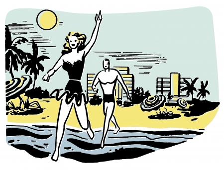 honeymooner: An illustration of a couple having fun in the sun on vacation