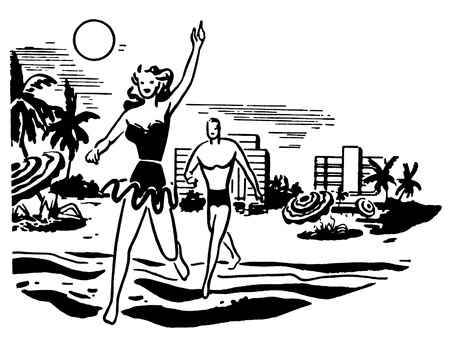 honeymooner: A black and white version of an illustration of a couple having fun in the sun on vacation