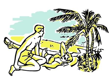 honeymooner: Una ilustraci�n de un par que se divierten en el sol en vacaciones