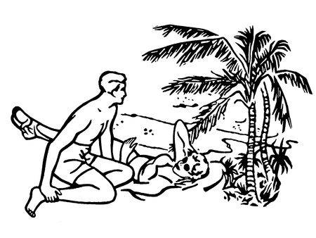A black and white version of an illustration of a couple having fun in the sun on vacation illustration