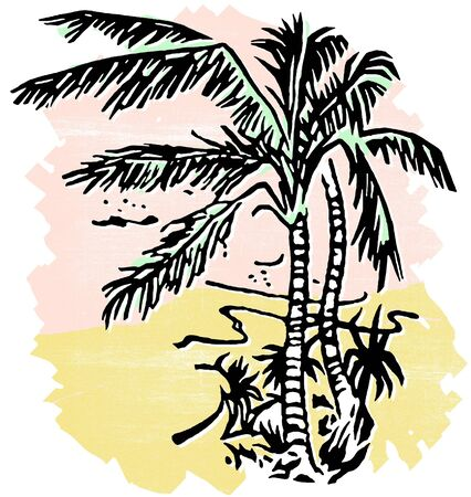 An illustration of Palm covered beaches Stock Illustration - 14918535