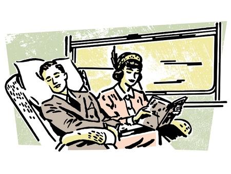 A vintage illustration of people on a train illustration