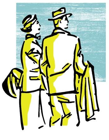 A vintage illustration of a traveling couple Stock Illustration - 14918490