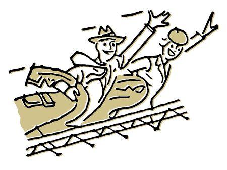 A vintage illustration of a traveling couple illustration