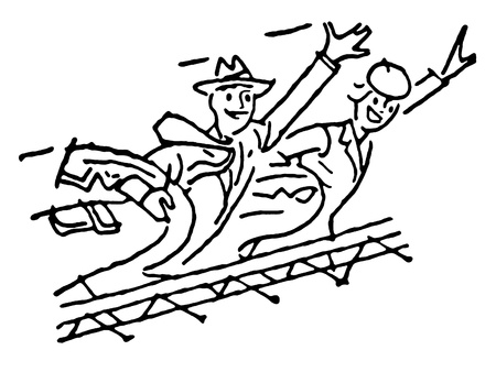 A black and white version of a vintage illustration of a traveling couple illustration