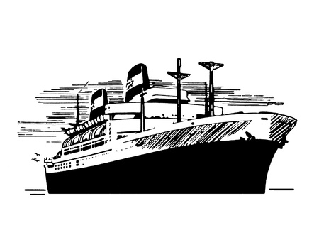 A black and white version of a vintage illustration of a ship Imagens