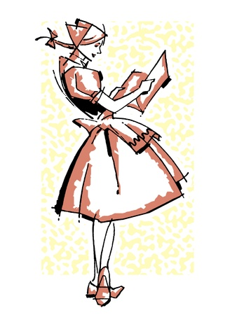 legs crossed: A vintage illustration of a German waitress