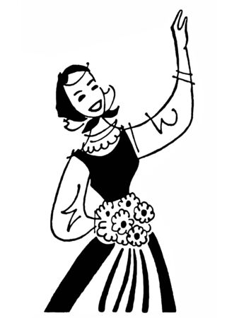 dutch girl: A black and white version of a vintage illustration of a young Dutch girl