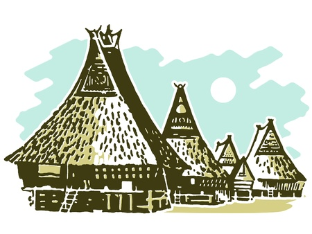 thatched: A vintage illustration of traditional huts Stock Photo