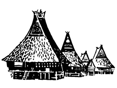 A black and white version of a vintage illustration of traditional huts