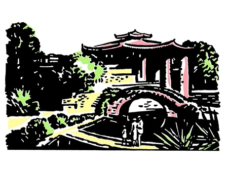 A vintage illustration of Japanese gardens