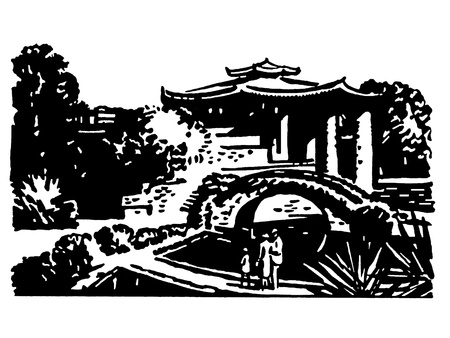 japanese garden: A black and white version of a vintage illustration of Japanese gardens