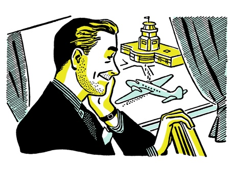 unshaven: A vintage illustration of a man waiting at an airport