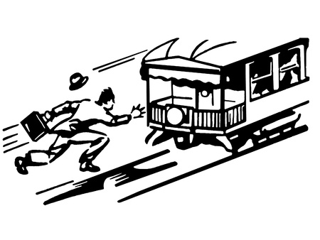 A black and white version of a vintage illustration of a man running for a tram illustration