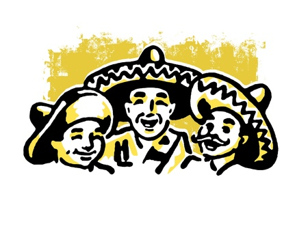 A graphic illustration of a traditional Mexican family 版權商用圖片
