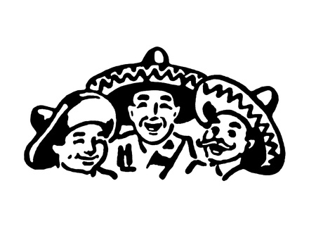 latin american boy: A black and white version of a graphic illustration of a traditional Mexican family Stock Photo