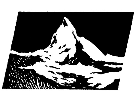 snowcapped landscape: A black and white version of a graphical print of snow capped mountains
