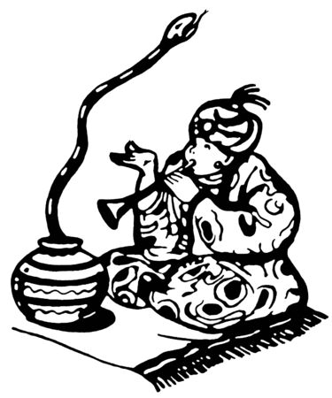 traditional culture: A black and white version of a man enticing a snake from its basket with music Stock Photo