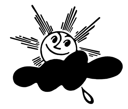 rainclouds: A black and white version of a cartoon style image of a shining sun Stock Photo