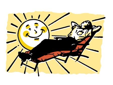yard furniture: A cartoon sun shining over a person basking in the sun Stock Photo