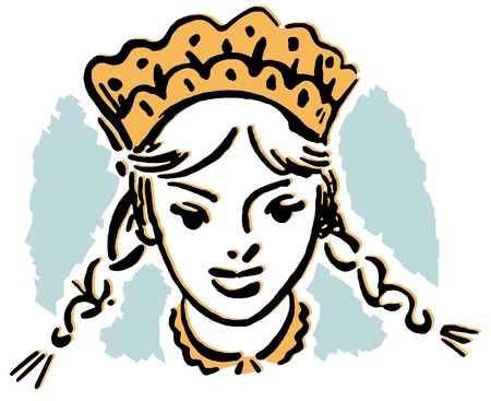 A vintage illustration of a young girl