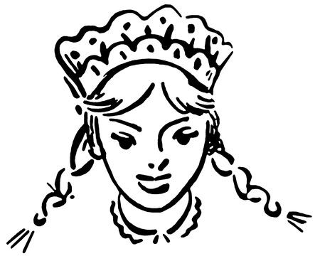 Een zwart-wit versie van een uitstekende illustratie van een jong meisje Stockfoto