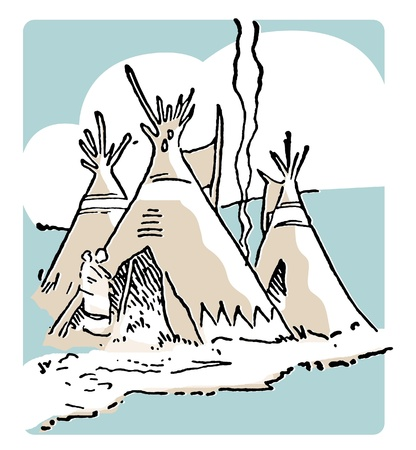 A vintage image of tee-pee huts Stock Photo