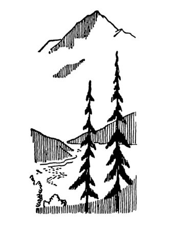 A black and white version of a vintage image of a winter mountain Stock Photo