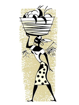 old fashioned vegetables: A vintage illustration of a woman carrying positions in a basket on her head