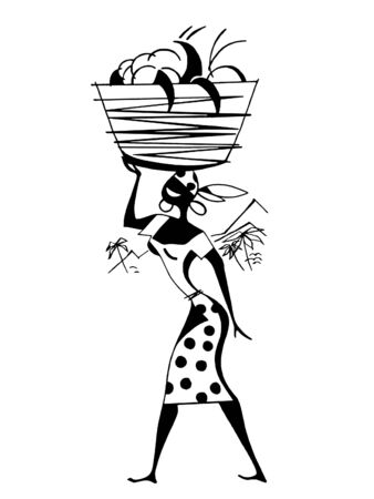 A black and white version of a vintage illustration of a woman carrying positions in a basket on her head