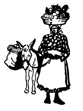 A black and white version of a vintage illustration of a woman carrying positions in a basket on her head Stock Illustration - 15208239