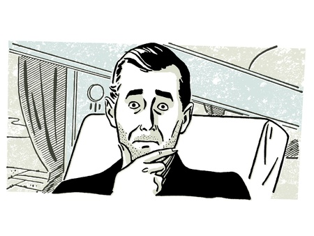 slicked back hair: A worried looking man on a train