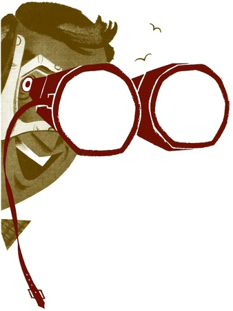 A man with a pair of binoculars spots something of interest