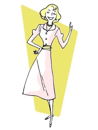 well dressed woman: A vintage illustration of a woman pointing