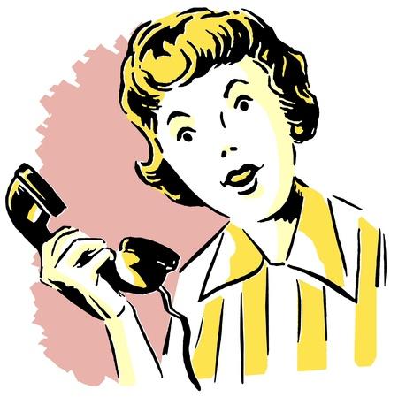 전화에 여자의 빈티지 이미지
