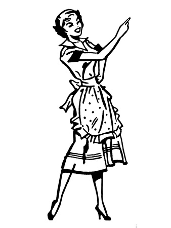 A black and white version of a vintage illustration of a woman pointing