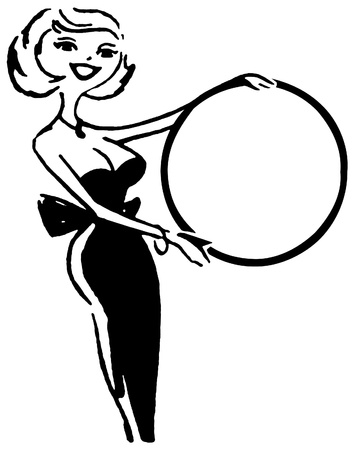 A black and white version of a vintage portrait illustration of a woman holding a round sign illustration