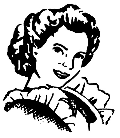 A black and white version of a vintage portrait illustration