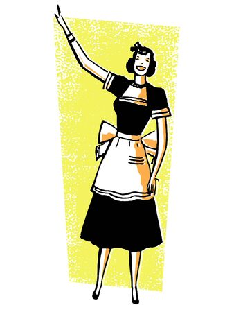 joyous life: A vintage illustration of a woman pointing