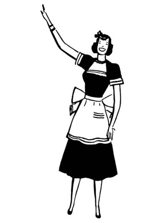 joyous life: A black and white version of a vintage illustration of a woman pointing