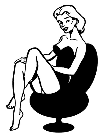 A black and white version of a vintage pin up girl photo