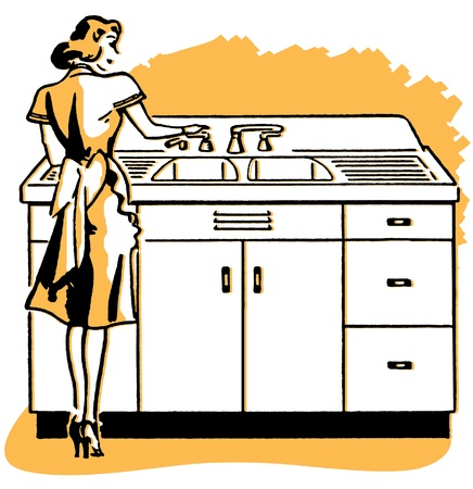 A vintage illustration of a woman washing dishes Standard-Bild