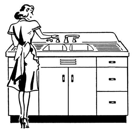 washing dishes: A black and white version of a vintage illustration of a woman washing dishes